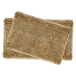 Laura Ashley® Butter Chenille Bath Rugs in Linen (Set of 2)