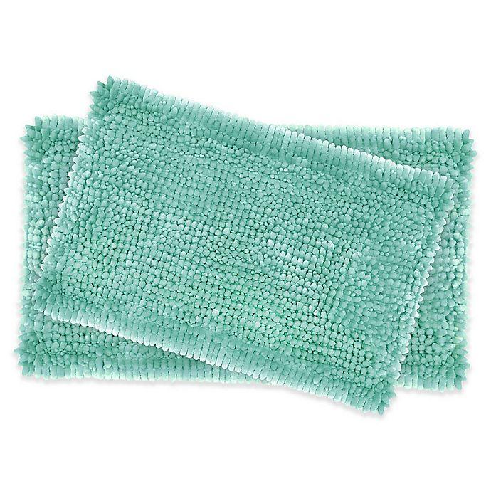 Buy Laura Ashley Butter Chenille Bath Rugs In Aqua Set Of