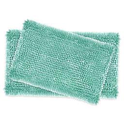 Laura Ashley® Butter Chenille Bath Rugs in Aqua (Set of 2)