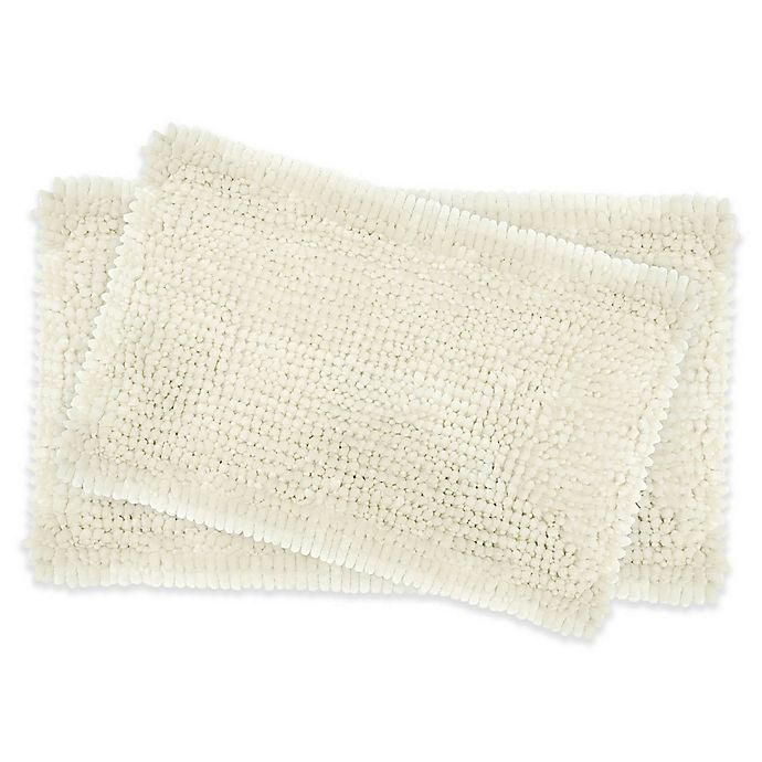 Alternate image 1 for Laura Ashley® Butter Chenille Bath Rugs in Ivory (Set of 2)