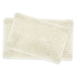 Laura Ashley® Butter Chenille Bath Rugs in Ivory (Set of 2)