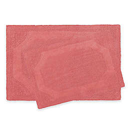Laura Ashley Reversible Bath Rugs in Coral (Set of 2)