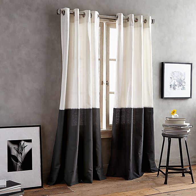 Alternate image 1 for DKNY Color Band 95-Inch Grommet Top Window Curtain Panel in Black