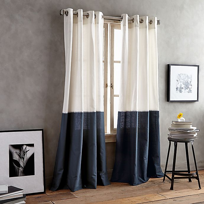 Alternate image 1 for DKNY Color Band 63-Inch Grommet Top Window Curtain Panel in Navy