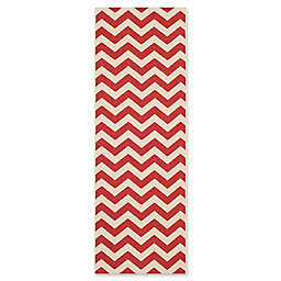 Safavieh Courtyard 2'3 x 6'7 Thick Chevron Indoor/Outdoor Runner in Red