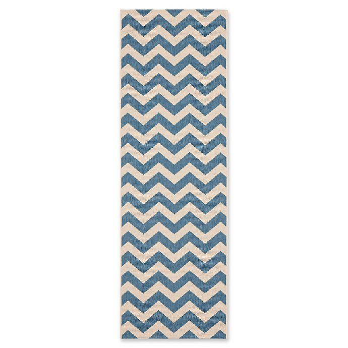 Alternate image 1 for Safavieh Courtyard Chevron 2-Foot 3-Inch x 14-Foot Indoor/Outdoor Runner in Blue