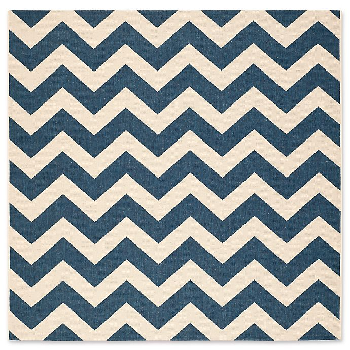 Alternate image 1 for Safavieh Courtyard Chevron 4-Foot Square Indoor/Outdoor Accent Rug in Navy