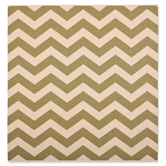 Alternate image 1 for Safavieh Courtyard Chevron 4-Foot Square Indoor/Outdoor Accent Rug in Green