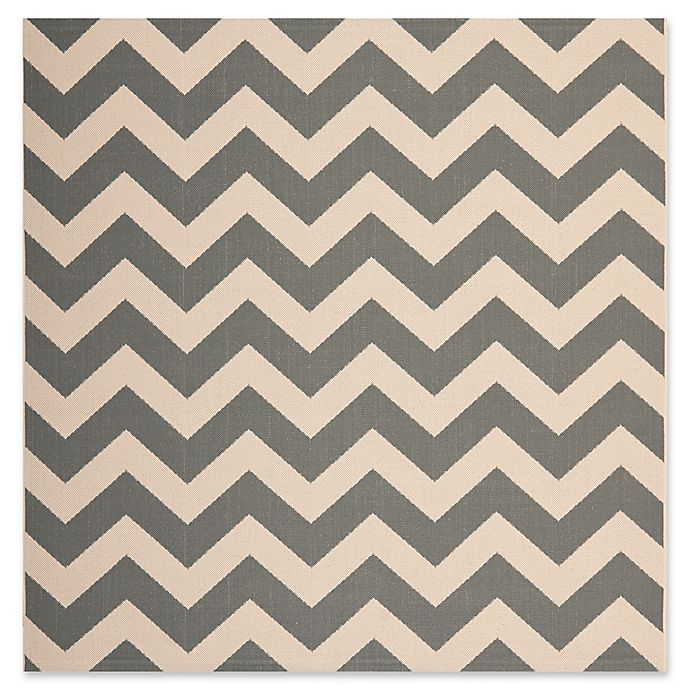 Alternate image 1 for Safavieh Courtyard Chevron 4-Foot Square Indoor/Outdoor Accent Rug in Grey