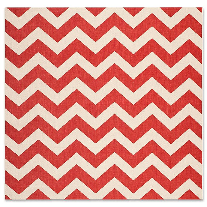 Alternate image 1 for Safavieh Courtyard Chevron 6-Foot 7-Inch Square Indoor/Outdoor Area Rug in Red
