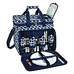 Picnic at Ascot Deluxe Picnic Cooler for 4 in Blue Trellis