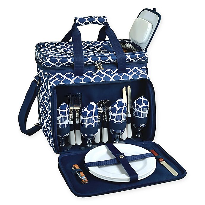 Alternate image 1 for Picnic at Ascot Deluxe Picnic Cooler for 4 in Blue Trellis