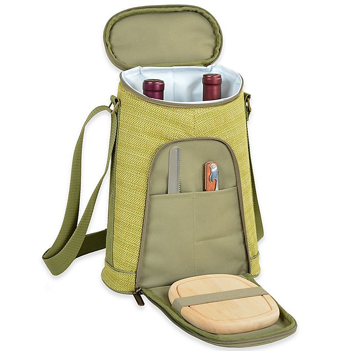 Alternate image 1 for Picnic at Ascot Hamptons Insulated Wine Tote with Cheese Set in Olive