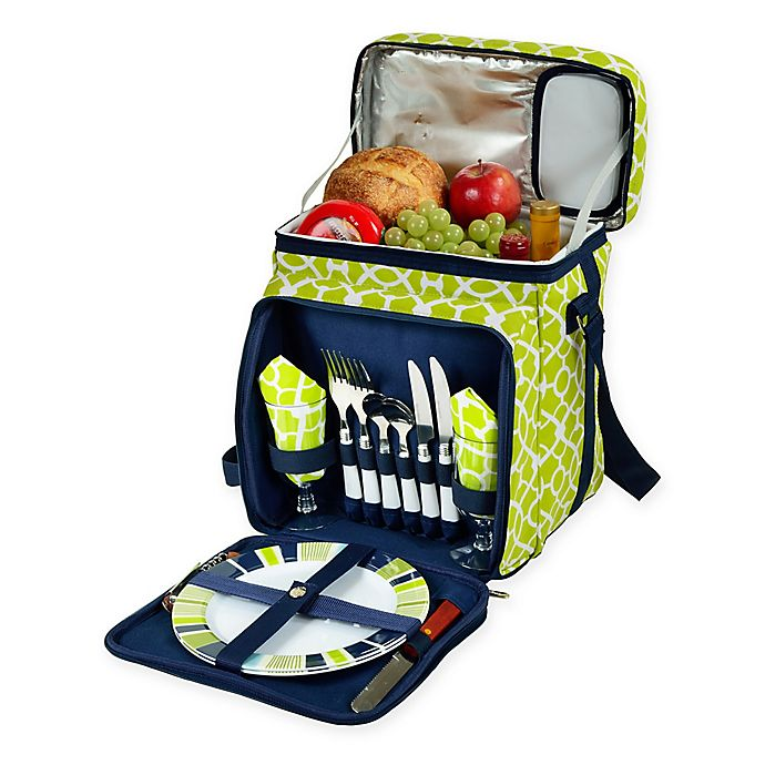 Alternate image 1 for Picnic At Ascot™ Picnic Cooler with Service For 2 in Green Trellis