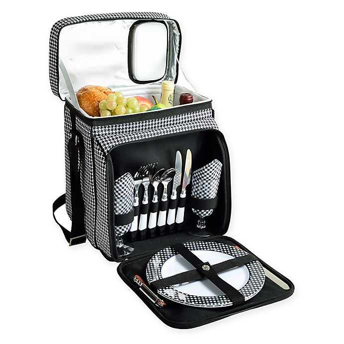 Alternate image 1 for Picnic At Ascot™ Picnic Cooler with Service For 2 in Black/White Houndstooth