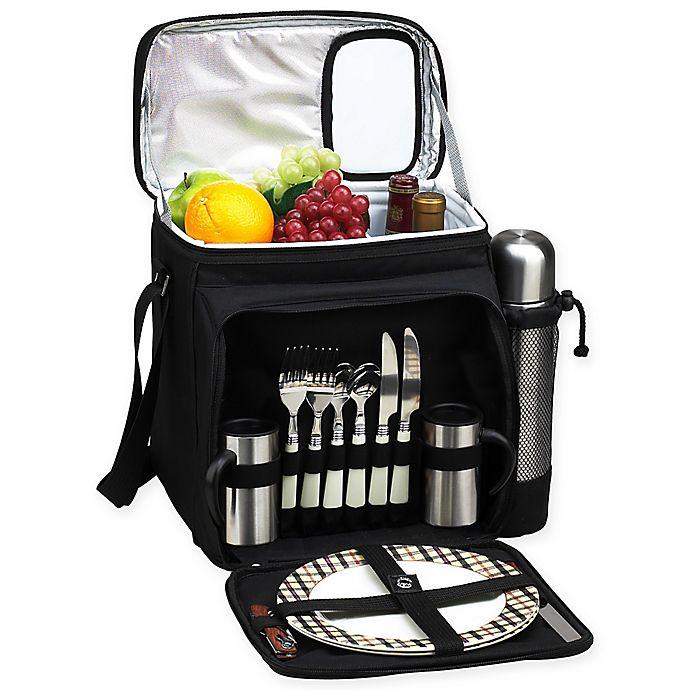 Alternate image 1 for Picnic & Coffee Basket/Cooler for 2 in Black