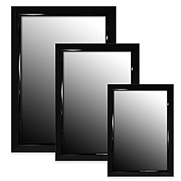 Hitchcock-Butterfield Stepped Petite Wall Mirror in Glossy Black