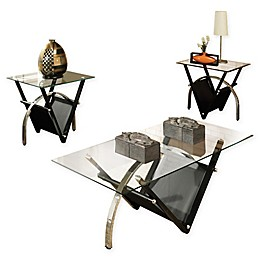 Tribecca Table Collection in Clear/Black (Set of 3)