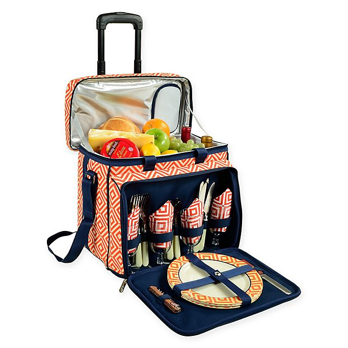 Alternate image 1 for Picnic at Ascot Deluxe Picnic Cooler for 4 with Wheels in Orange Diamond /Navy