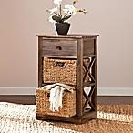Southern Enterprises Jayton 2-Basket Storage Tower in Antique Brown