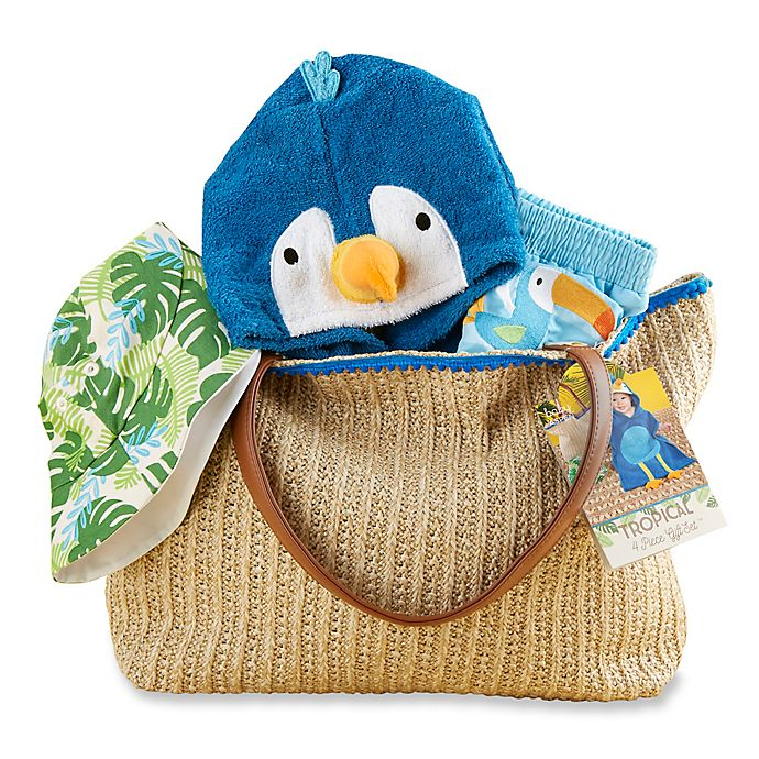 Alternate image 1 for Baby Aspen 4-Piece Tropical Gift Set with Raffia Tote