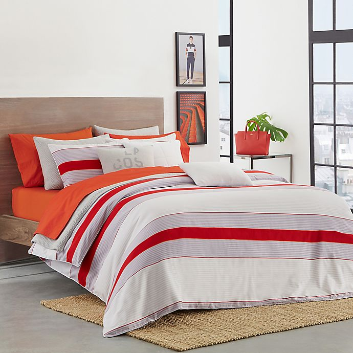 buy lacoste sirocco twin twin xl duvet cover set in red from bed bath beyond. Black Bedroom Furniture Sets. Home Design Ideas