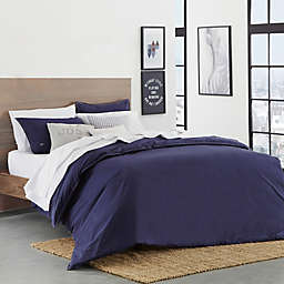 Lacoste® Washed Solid Percale 2-Piece Reversible Twin/Twin XL Duvet Cover Set in Indigo