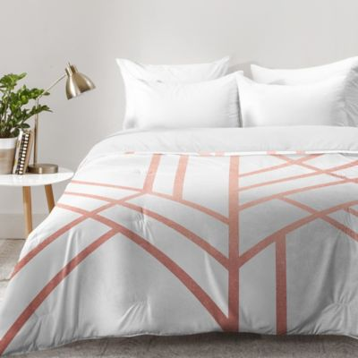 Deny Designs Elisabeth Fredriksson Art Deco Comforter In Rose Gold