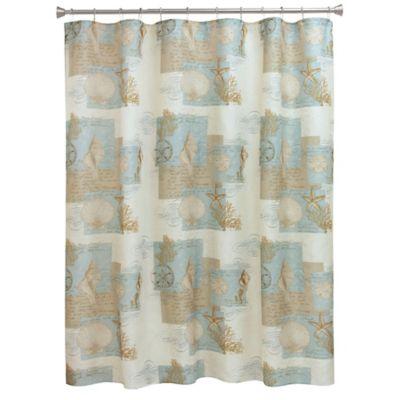 Bacova Coastal Moonlight Shower Curtain In Blue Tan