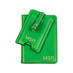Cathy's Concepts Leather Passport Holder & Luggage Tag in Green