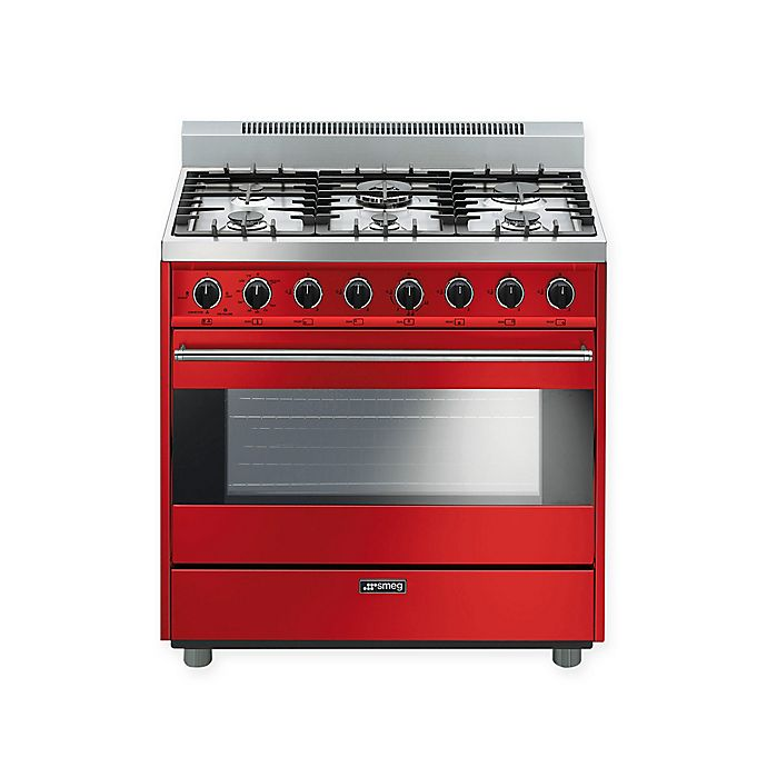 Alternate image 1 for Smeg Pro-Style 30-Inch Free-Standing Gas Range in Red