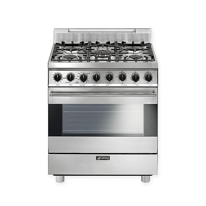 Alternate image 1 for Smeg Pro-Style 30-Inch Free-Standing Gas Range in Stainless Steel