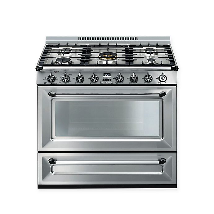 Alternate image 1 for SMEG Victoria 36-Inch Free-Standing Gas Range in Stainless Steel