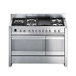 SMEG Opera 48-Inch Free-Standing Dual-Fuel Range in Stainless Steel