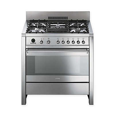 SMEG Opera 36-Inch Free-Standing Dual-Fuel Range in Stainless Steel