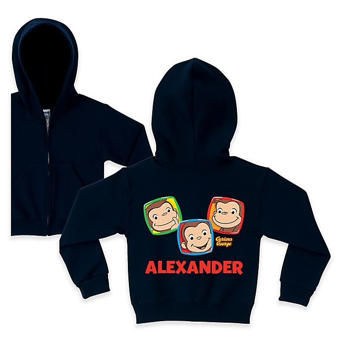 Alternate image 1 for Curious George Funny Faces Zip Hoodie in Navy