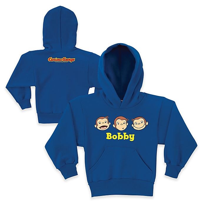 Alternate image 1 for Curious George Silly Faces Pullover Hoodie in Blue