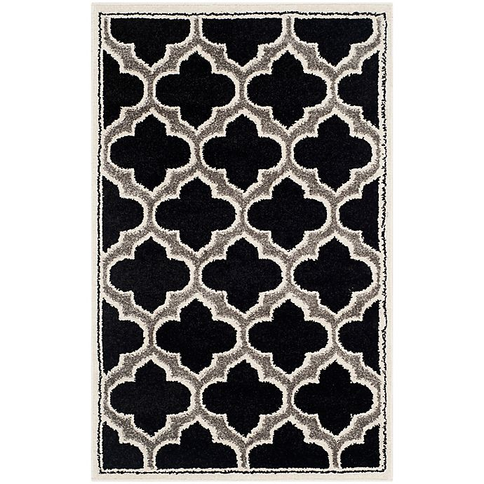 Alternate image 1 for Safavieh Amherst Belle 2-Foot 6-Inch x 4-Foot Indoor/Outdoor Accent Rug in Anthracite/Ivory