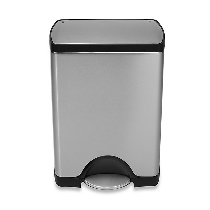 Alternate image 1 for simplehuman® Deluxe Stainless Steel Fingerprint-Proof Rectangular 30-Liter Step-On Trash Can