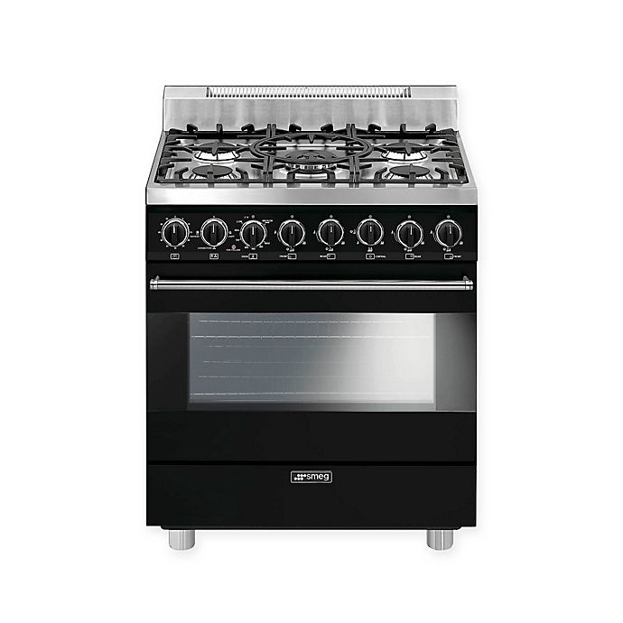 Alternate image 1 for Smeg Pro-Style 30-Inch Free-Standing Gas Range in Black
