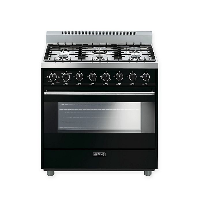 Alternate image 1 for Smeg Pro-Style 36-Inch Free-Standing Gas Range in Black