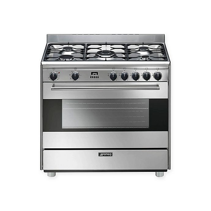 Alternate image 1 for SMEG Pro-Style 36-Inch Free-Standing Dual-Fuel Range in Stainless Steel