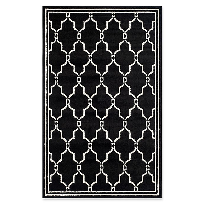 Alternate image 1 for Safavieh Amherst Quake 5-Foot x 8-Foot Indoor/Outdoor Area Rug in Anthracite/Ivory