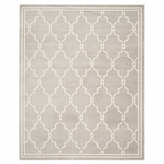 Alternate image 1 for Safavieh Amherst Quake 10-Foot x 14-Foot Indoor/Outdoor Area Rug in Light Grey/Ivory