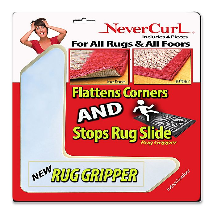 Nevercurl 4 Piece Anti Curl Rug Corners With Gripper Bed Bath Beyond
