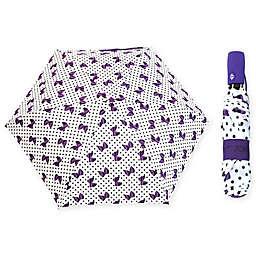 Betsey Johnson® Auto Open/Close Umbrella in Purple Dot/ Bow