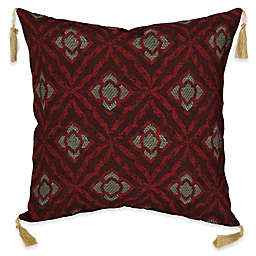 Bombay® Geo Floral Berry 16-Inch Square Outdoor Throw Pillow with Tassels