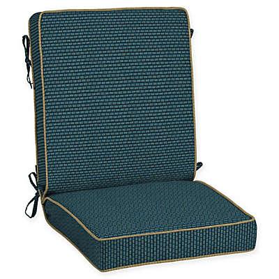 Bombay® Rhodes Snap Dry™ 21-Inch x 44-Inch Patio Chair Cushion in Indigo Seas