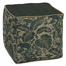 Bombay® Tangier Stitch 17-Inch Square Outdoor Pouf in Green Floral