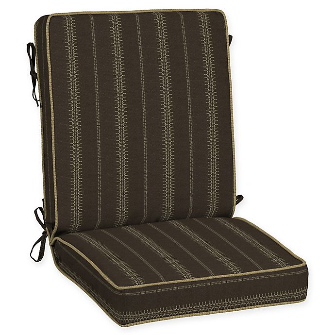 Alternate image 1 for Bombay® Trevor Stripe Snap Dry™ 44-Inch x 21-Inch Outdoor Chair Cushion in Espresso